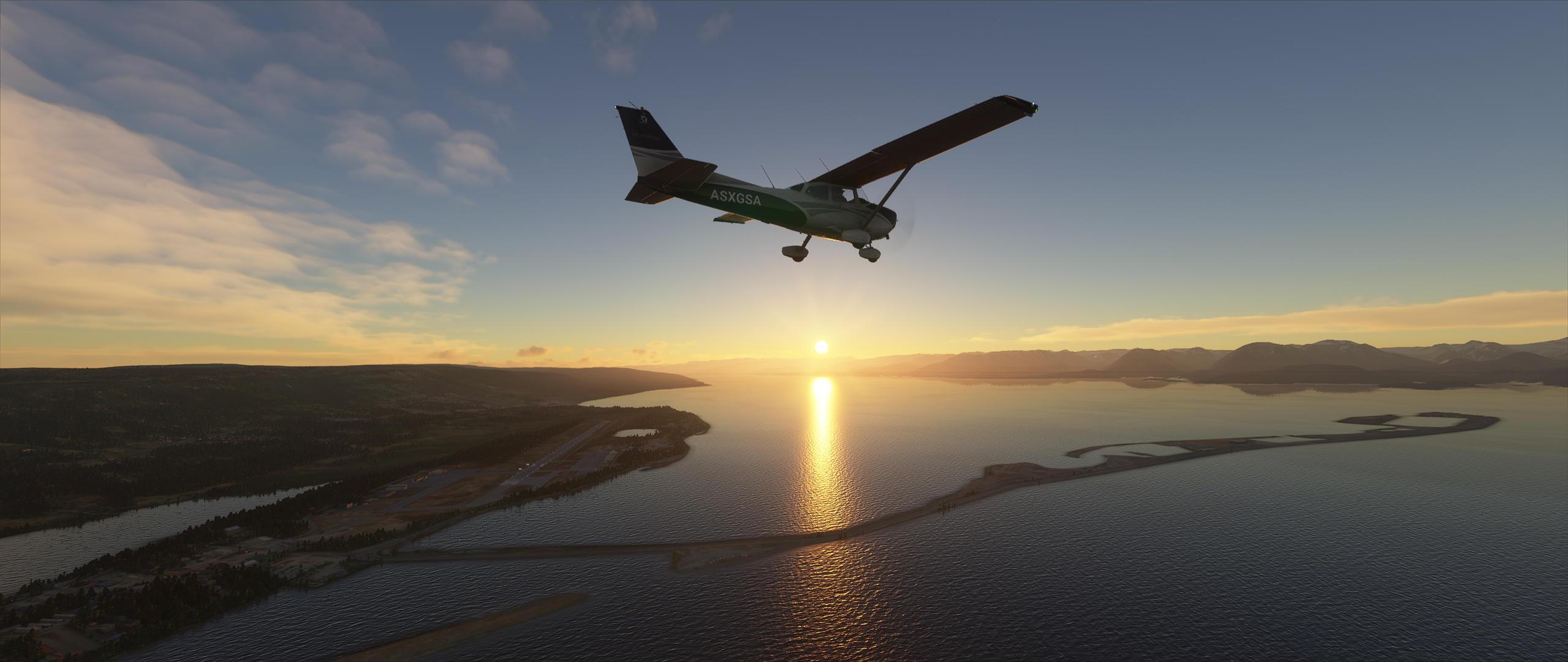 MS Flight Simulator 2020 C172 over the Homer Spit